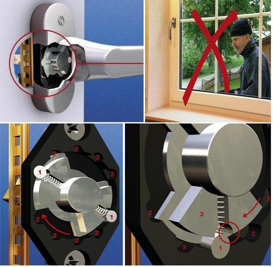 SECUSTIK rankenėlė blokuoja prasukimą. Tai padidina lango saugumą (saugumo klasė WK1)