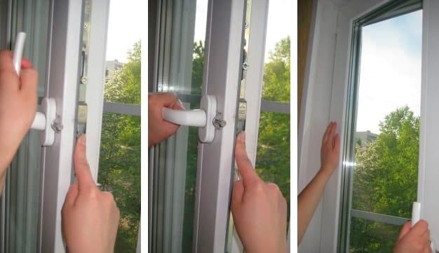 Atviroje lango padėtyje užstrigo rankenėlė